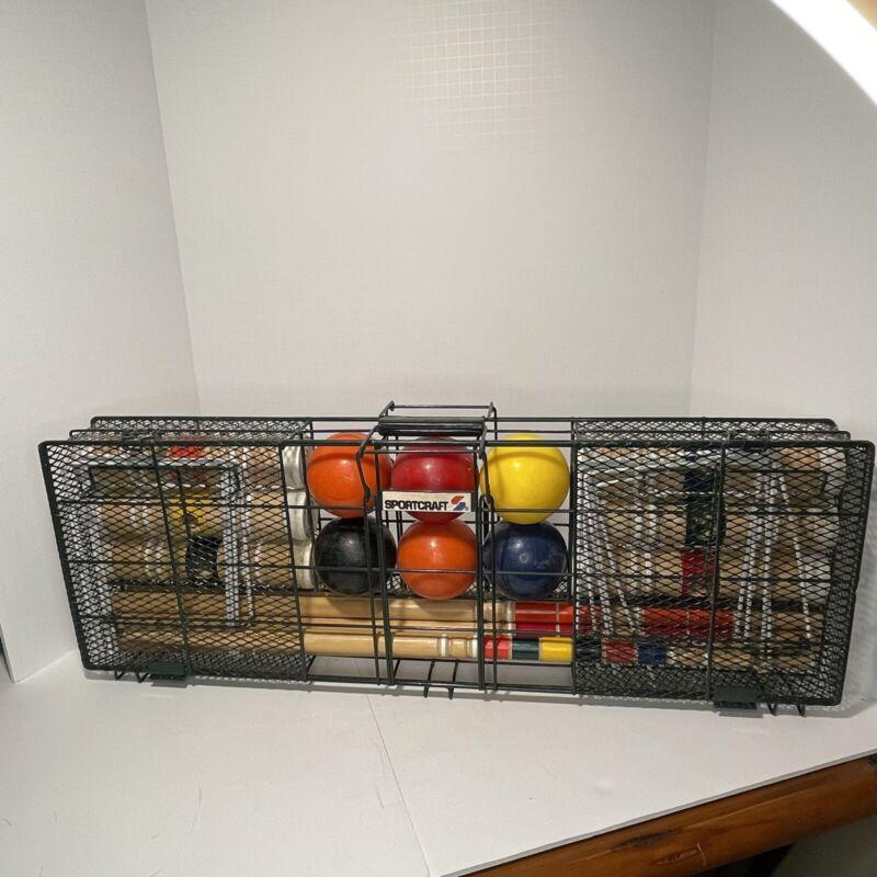 Vintage Sportcraft Croquet Set In Heavy Wire Case READ