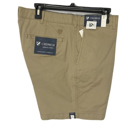 """Cremieux Mens Soho Slim Fit Chino Shorts 38 Flat Front 7"""" Comfort Stretch Khaki Clothing, Shoes & Accessories"""
