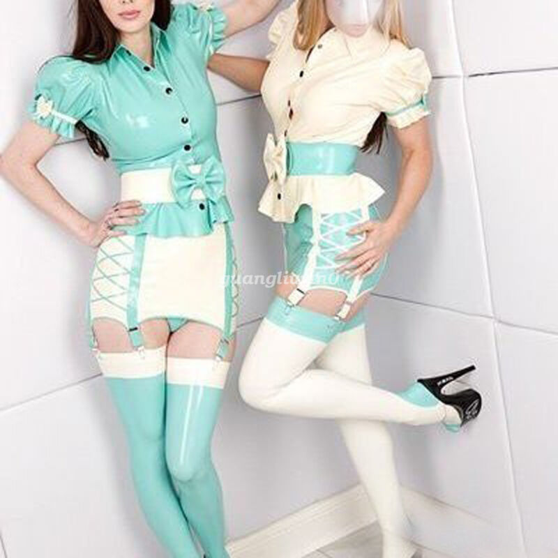 Cool Latex Rubber Women Elegant Shirt And Skirt And Stocking Suit Size XXS-XXL