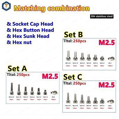 250pcs M2.5 304 Stainless Steel Allen Hex Socket Screws With Hex Nut Assortment