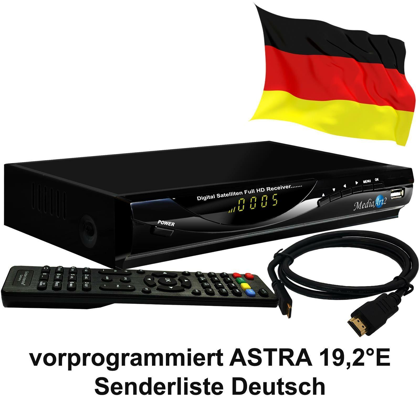 Sat Receiver MEDIAART-2 vorbereit Deutsche Senderliste FULL HD Digital HDMI USB