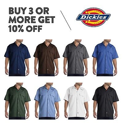 DICKIES 1574 MENS CASUAL WORK SHIRT SHORT SLEEVE UNIFORM DRESS SHIRTS BUTTON UP (New Mens Casual Shirt)