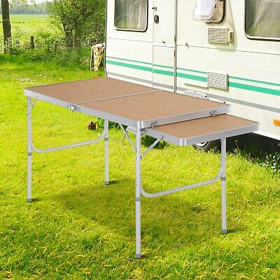 Mesa de Picnic Plegable Mesa de Camping con Hoja Abatible Estructura Ligera