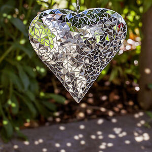 Large Silver Mirror Mosaic Hanging Heart Ornament for Garden or Home