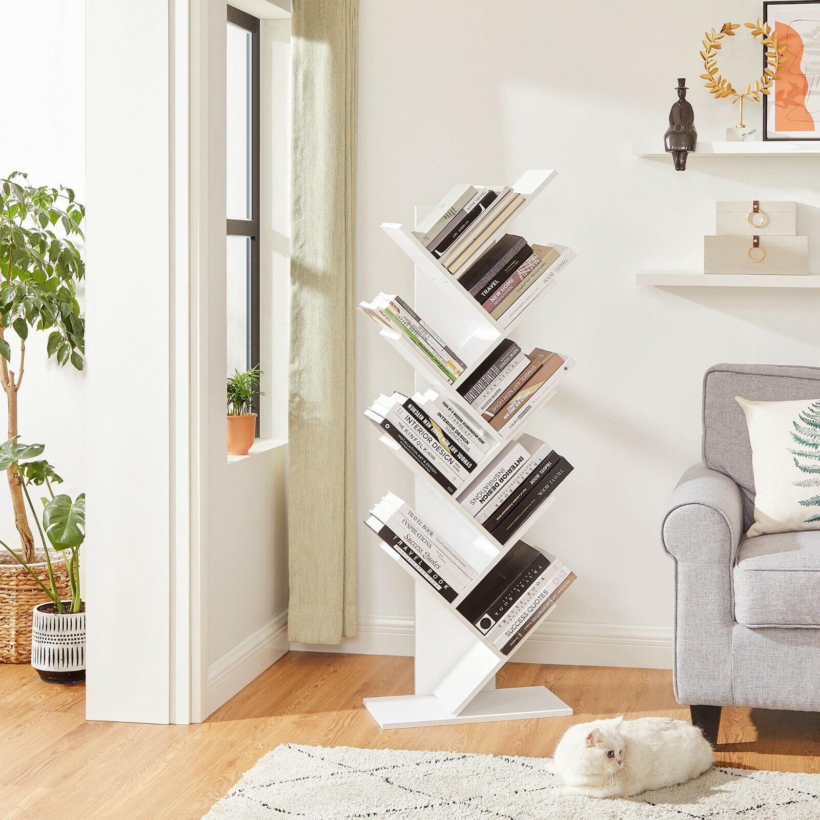 VASAGLE Bücherregal Eckregal Standregal 8 Ebenen CD Regal Holz Weiß LBC11WTV1