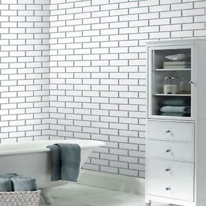 details about fine decor fd40136 kitchen bathroom white cermica tile