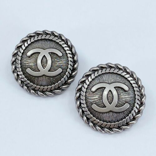 One Pair Authentic CHANEL Button, Stamped Silver Metal 22mm Designer Art Buttons