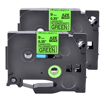 2pk Compatible With Brother Tz Tze-d21 Black On Fluo Green Label Tape 0.35
