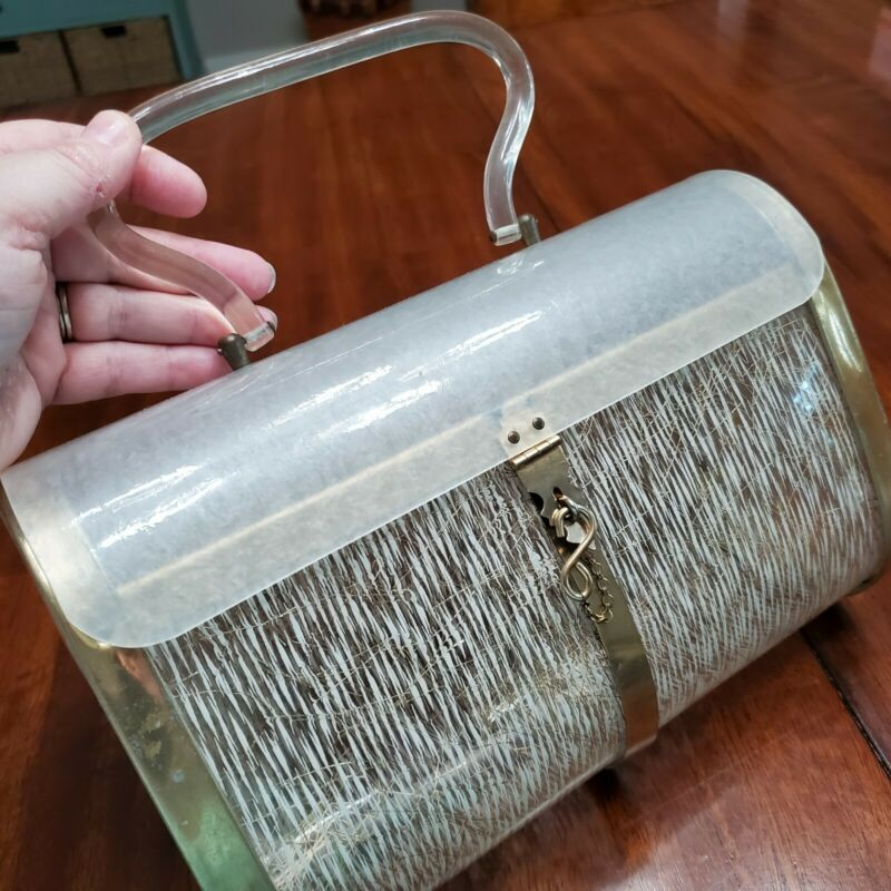 Vintage Stylecraft Miami Lucite Clear Gold Purse Handbag