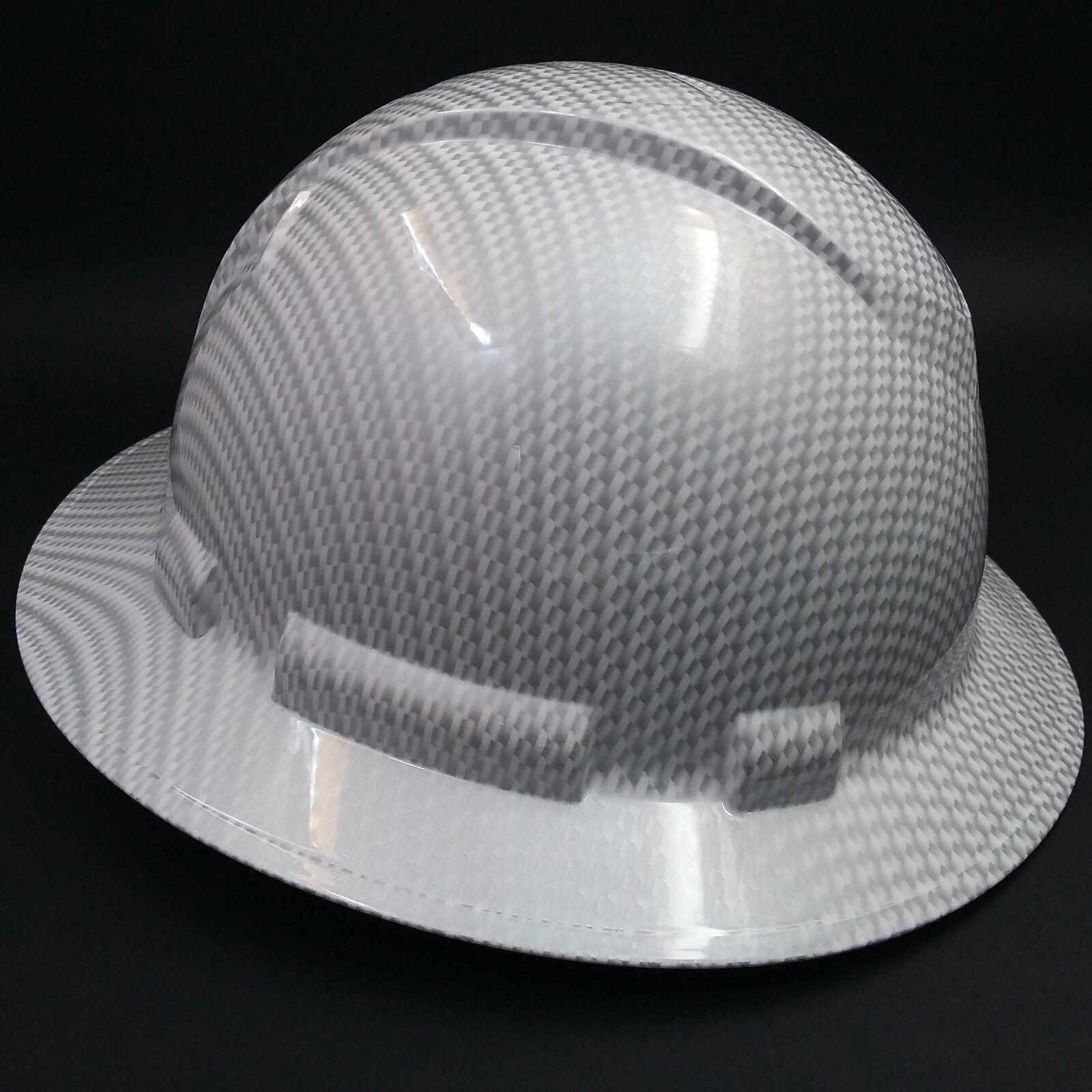 FULL BRIM Hard Hat custom hydro dipped , NEW WHITE CARBON FIBER HOT NEW HYDRO 2
