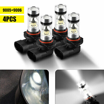 4pcs 9005 9006 Combo LED Headlight Kit Fog Lamps Bulbs 6000K White High Low Beam