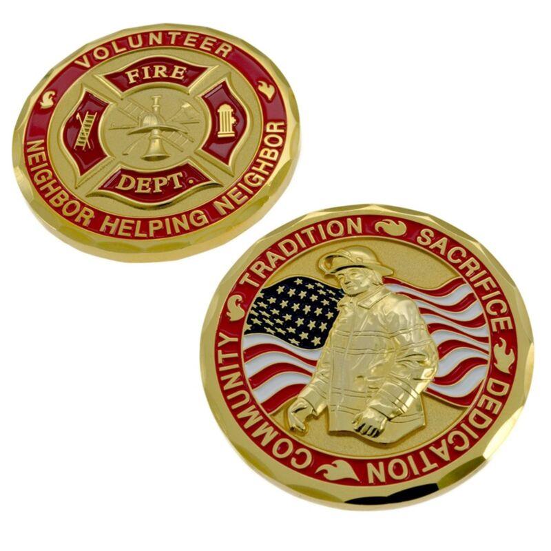 Volunteer Fire Department Firefighter Challenge Coin American Flag Maltese Cross