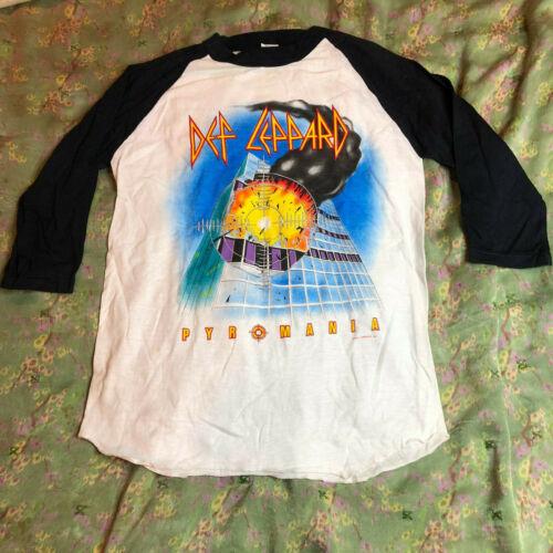 Vtg DEF LEPPARD Pyromania Tour Raglan T Shirt Concert Heavy Metal Hard Rock Dio