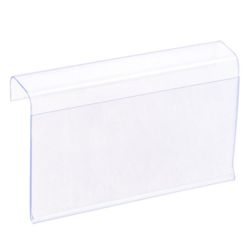 Label Holder L Shape 80x60mm Clear Plastic for Wire Shelf, Pack of 30