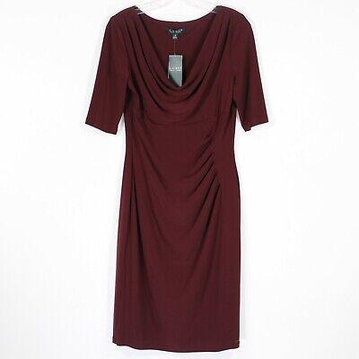 Ralph Lauren Women's Red Wine 3/4 Sleeve Dress | Size 10 | NWT