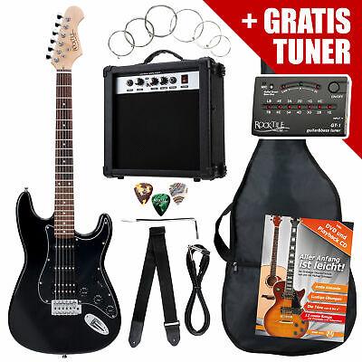 Pack de Guitarra Electrica ST Humbucker Amplificador Bolsa Correa Tuner Negro