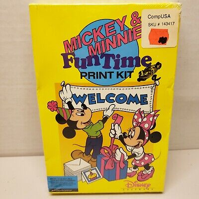 "Disney Mickey and Minnie's Fun Time Print Kit (PC, 3.5"" Disk) Disney Interactive"