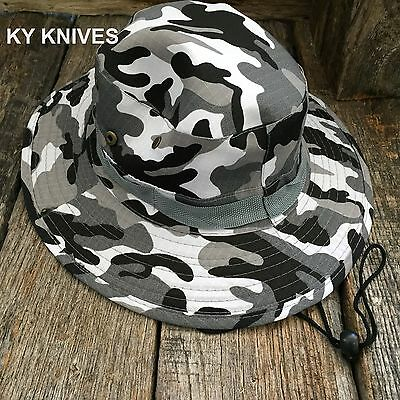 Outback Safari Bucket Flap Boonie Hat Fishing Outdoor NEW! HT-860 WHITE CAMO - White Bucket Hats