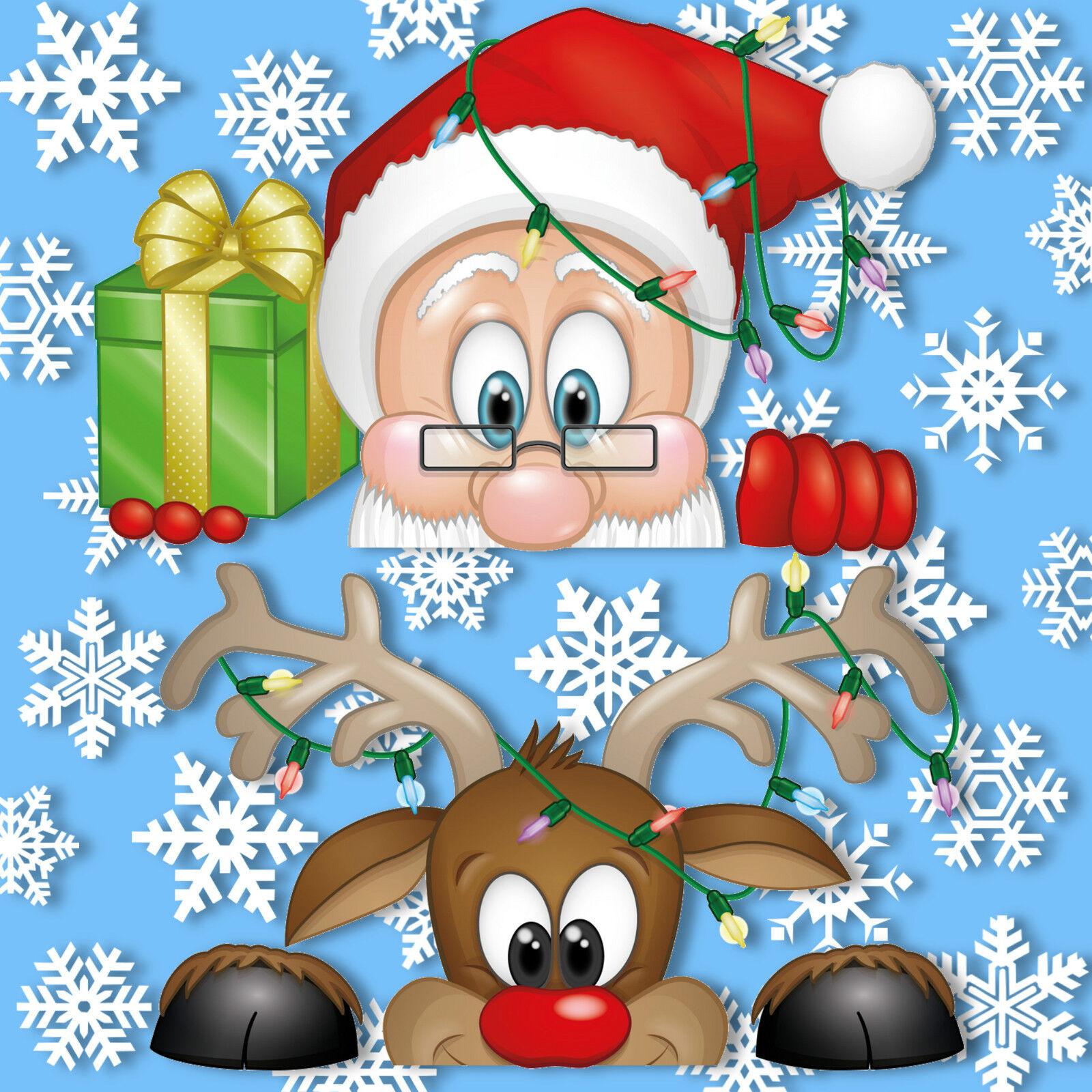 Peeking Santa Amp Rudolph Static Window Clings 28 Snowflakes