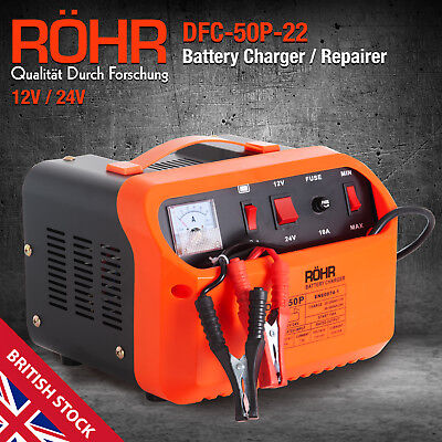 Car Battery Charger, Portable Leisure 12V & 24V, ROHR Turbo / Trickle Charger