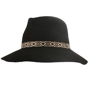 Winter-Soft-Wool-Felt-Fedora-Floppy-Tribal-Panama-3-034-Wide-Brim-Dress-Hat-Black