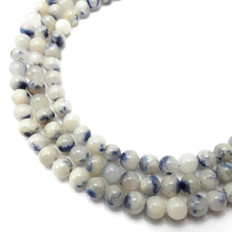 "Dumortierite In Quartz Smooth Round Beads 6mm 15.5"" Strand"