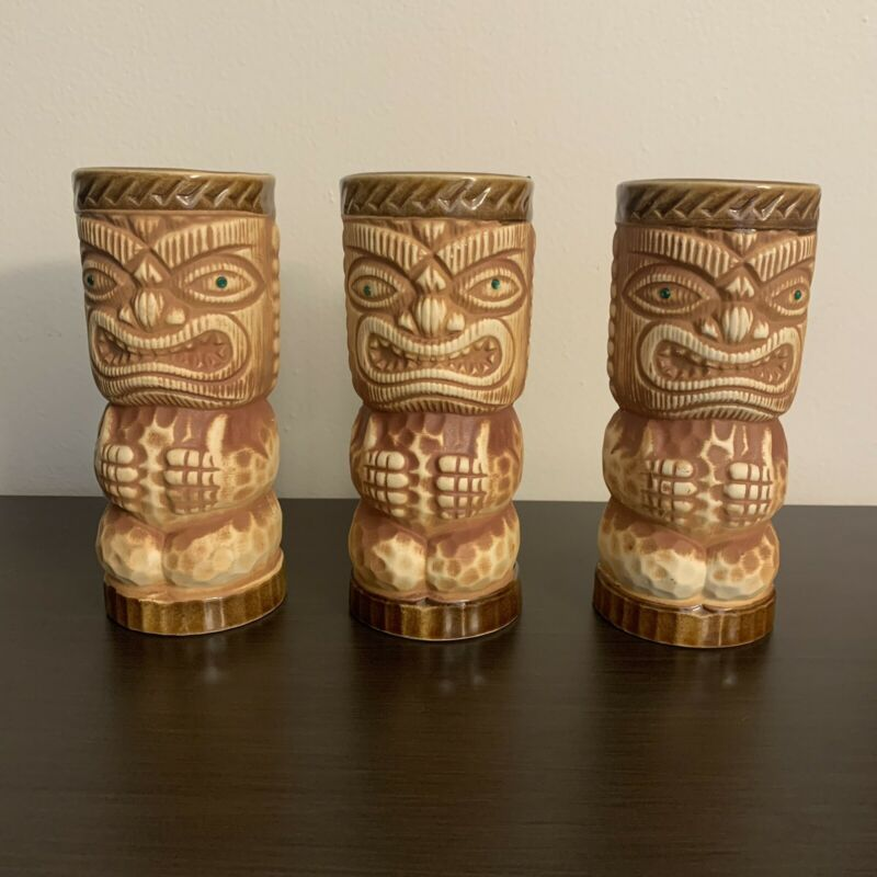 3 Orchids of Hawaii  Tiki Mugs JAPAN  R-3 With Emerald style Green Eyes.