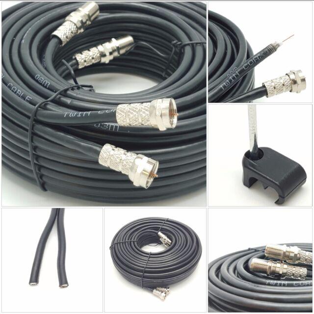 50m SKY+ or HD twin shotgun Satellite cable black NEW ! TV Satellite coax cable