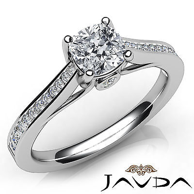 Cushion Cut Diamond Channel Set Engagement Ring GIA H SI1 18k White Gold 1.03Ct