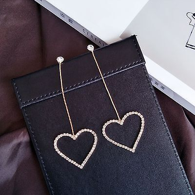 - 14K Yellow Gold Plated Crystal Heart Hoop Dangle Drop Fashion Earrings 071