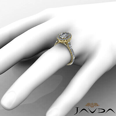 2.5 ct Oval Diamond Engagement 14k White Gold F VS2 Clarity GIA Halo Pave Ring 11