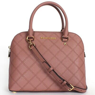 Michael Kors Quilted Leather Cindy Medium Dome Satchel Dusty -