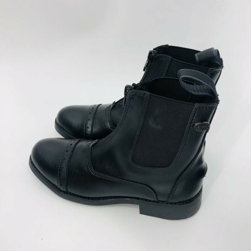 Equistar Childrens Zipped Paddock Boot Black Synthetic Leather USA Size 2 NEW WB