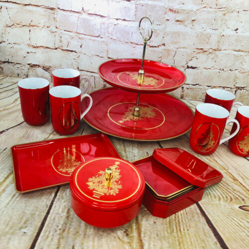 Vtg Christmas Red Serving Set Otagiri Cookie Trays 2 tier 6 mugs coasters