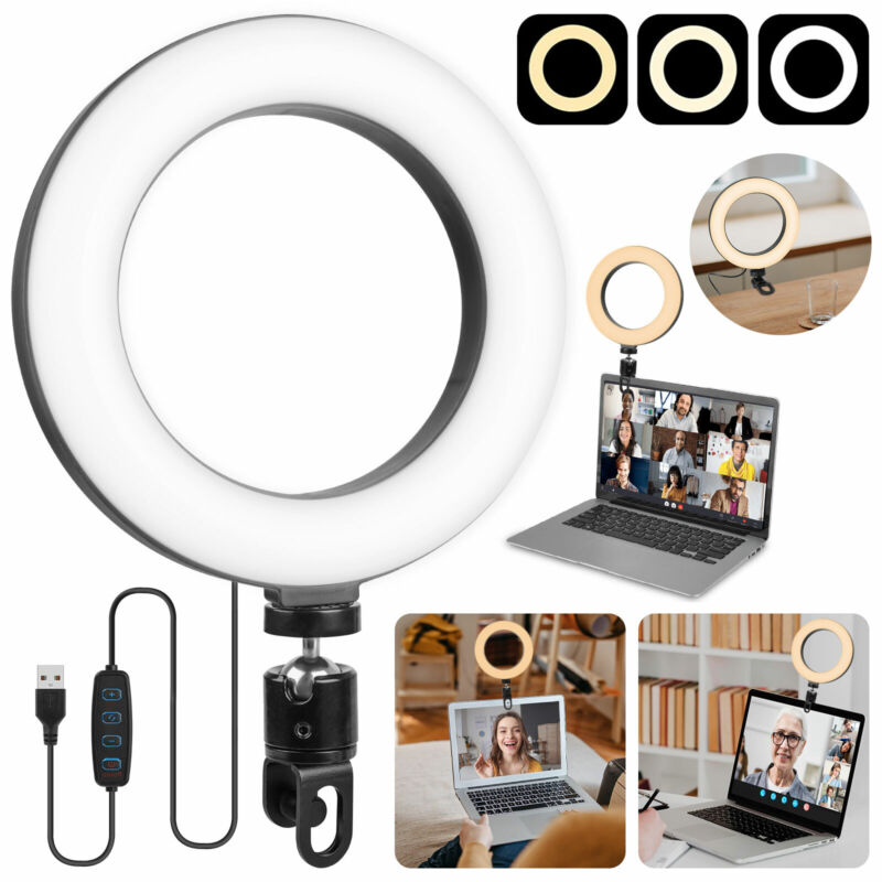 LED Selfie Ring Light Video Conference Lighting Dimmable for Makeup Zoom Meeting