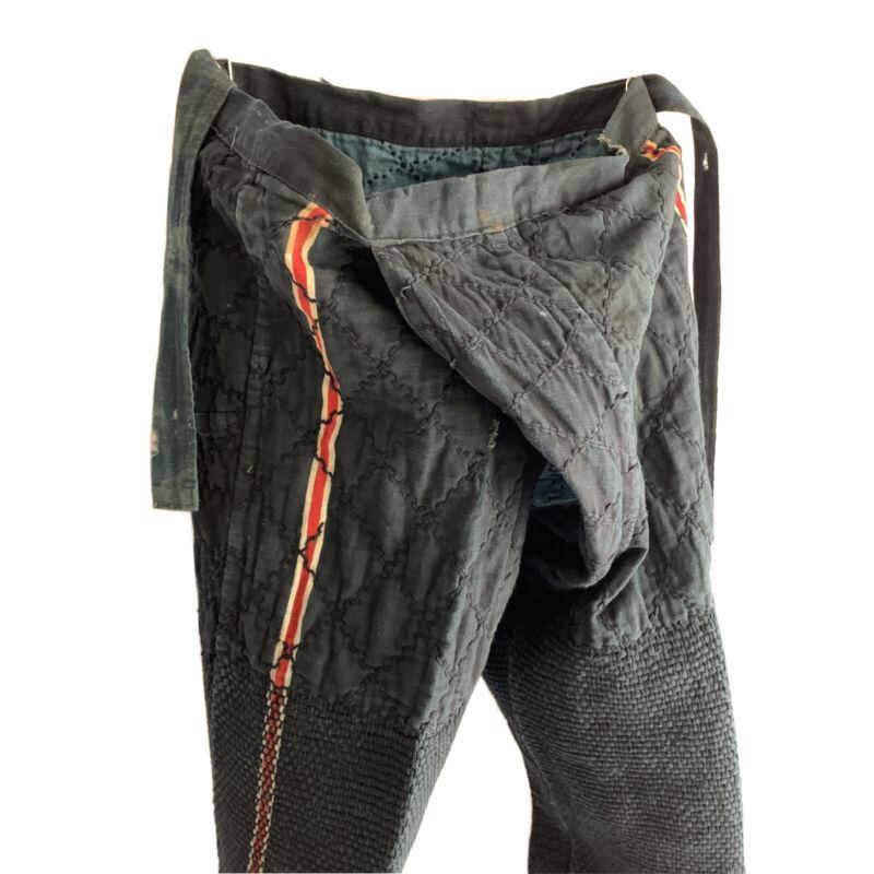 "Vintage Japanese Fire Fighter Sashiko Pants Old Type Length 35.8"""