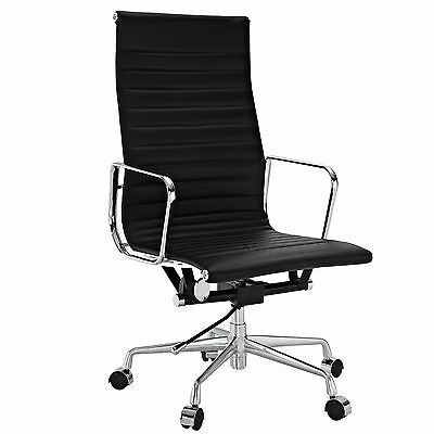 Ribbed High Back Executive Office Chair Reproduction Black Leather Eames for sale  Flushing