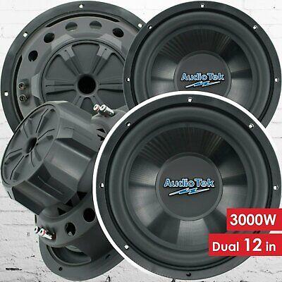 Audiotek 12インチ3000ワットカーオーディオサブウーファー(DVC電源付き)(2ウーファー)