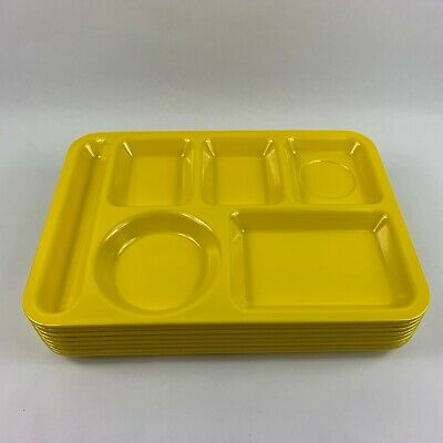 Set 8 Cafeteria School Lunch Food Trays - 6 Compartments, Yellow Yellow Cafeteria Tray