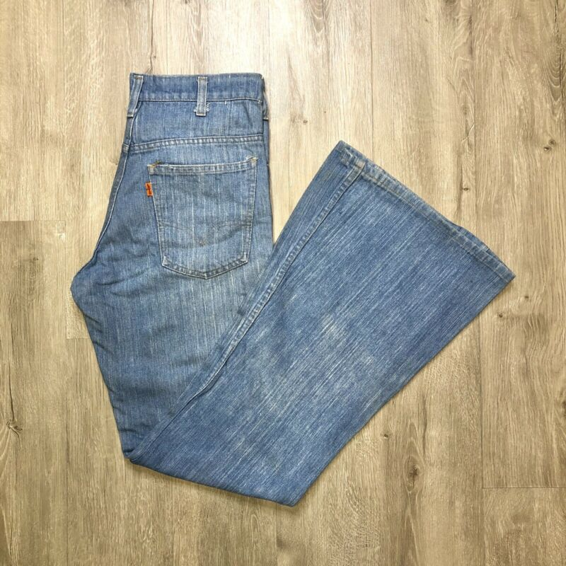 Vintage 70s Levis Bell Bottom Jeans Denim 684 31x33 Faded Light Medium Wash