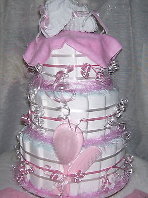 PINK BABY SHOWER Diaper Cake Baby Girl Christmas Present Decoration Party Favors