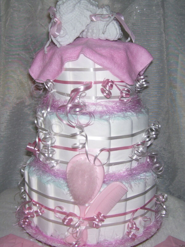 3 Tier PINK BABY SHOWER Diaper Cake Baby Present Decoration Party Favors