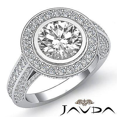 3.5ct Halo Round Diamond Engagement Vintage Style Ring GIA F VS2 14k White Gold