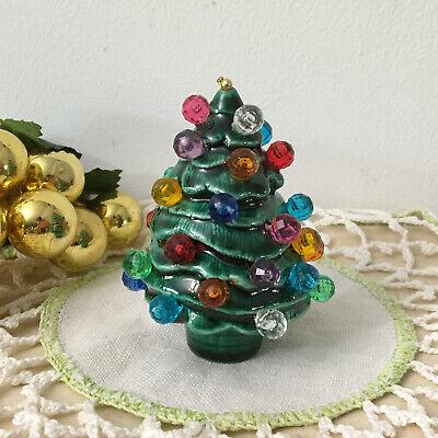 Vintage Mini Ceramic Christmas Tree Ornament w/Faux Multi-Color Light Bulbs