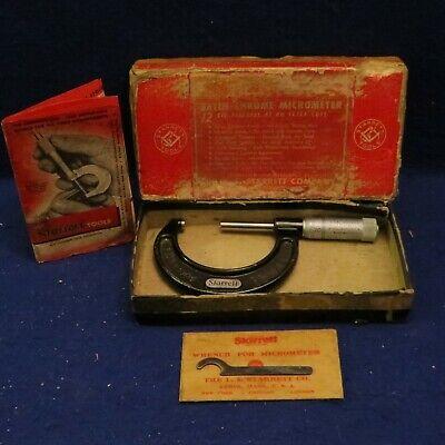 Vintage L.s. Starrett 1 - 2 Micrometer 436 Wrench Orig Box - See Pics