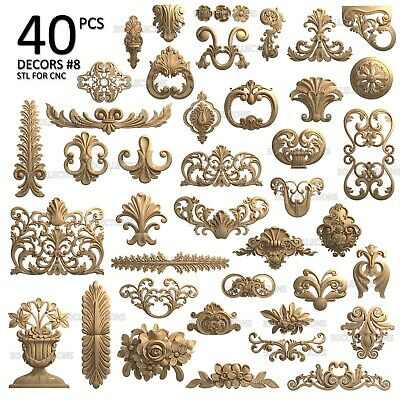 3d Stl Model Cnc Router Artcam Aspire 40 Pcs Decor Collection Pack 8