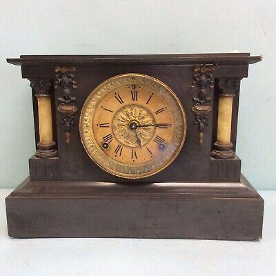 "Mantel Clock Wood Case By Seth Thomas, Thomaston, Conn. 14"" W"