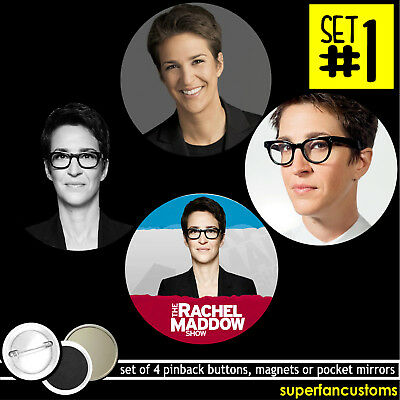 Rachel Maddow Show Set Of 4 Buttons Or Magnets Or Mirrors Pinback Badges  1630