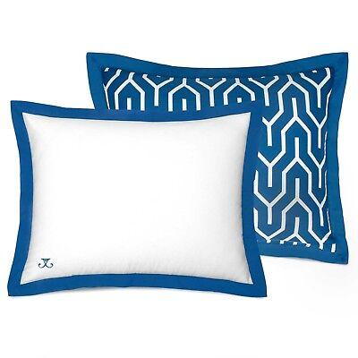 JILL ROSENWALD Standard Pillow Sham PLIMPTON FLAME Reversible, Blue & White, NEW