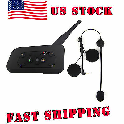 US STOCK 1200M BT Bluetooth Motorcycle Helmet Intercom Headsets for Smart Phone